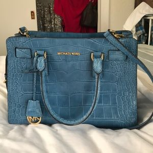 🆕 MIchael Kors Blue Croc Embossed Bag